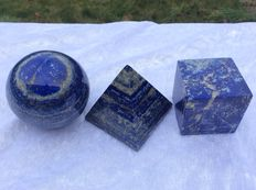 Lapis Lazuli shape set - Sphere, Cube and Pyramid - 4 to 6cm - 718gm  (3)