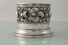 Art Nouveau silver plated wine bottle stand coaster