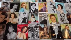 50x vintage postcards of actors and actresses - Marilyn Monroe, Elvis Presley, Charlie Chaplin, James Dean, Frank Sinatra, John Wayne, Elizabeth Taylor