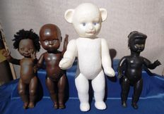 Lot of four dolls including Wildebras - bear and Negro doll - rare