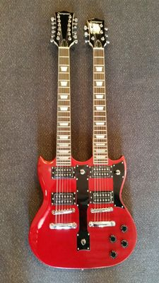 New double-neck metallic red SG model with 12 and 6 steel strings with bag and cable