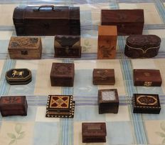 Lot 15 wooden, beautiful boxes handmade, with bronze inserts.