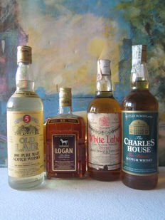 4 old bottles - 1 Logan 12 years 75 cl - 1 White Label 75 cl - 1 Old Lair 5 years 70 cl - 1 Charles House 70 cl - bottled 70' & 90'