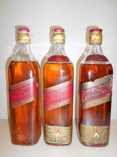 3 bottles - Johnnie Walker Red Label - Old Scotch Whisky - from the 1970s & 1980s