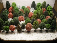 Scenery H0 – lot with 60 trees, pines with root foot by Busch Noch Heki + 77 pines without root foot