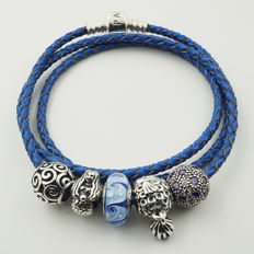 Pandora, Moments blue leather bracelet with 5 assorted charms (ALE)