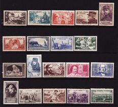 France 1940/1943 – Selection of 4 complete years with strip no. 571A and strip no. 580A – Yvert nos. 451/598
