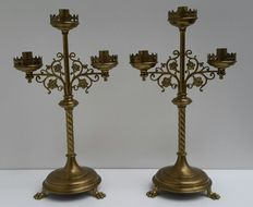 A pair of candlesticks in Gothic design - brass - France - ca. 1900