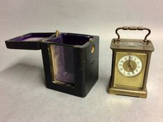 Antique carriage clock with unusual dial in holder – period 1880