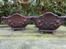 A few identical edited heavy cast iron planters with ears - France - second half 20th century