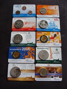 The Netherlands – Various coins/medals 2013–2016 in coin cards (10 different ones)