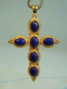 Cross pendant with 6 oval lapis lazuli cabochons, approx. 7 ct