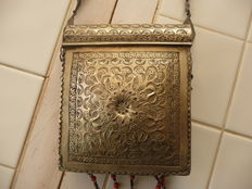 Portable Quran box with silvery shoulder strap - Morocco/North Africa - late 19th/early 20th century