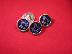 Sterling Silver Heavy mint condition Masonic Double Round Blue Guilloche Enameled Cufflinks