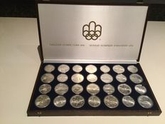 "Canada, 5 and 10 dollar coins, 1973-1976, ""Olympic Games Montreal"", (28 coins), silver, in case"