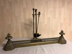 Bronze fireplace header & bronze hearth set