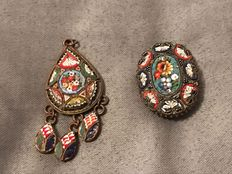 2x 20th century Italian micro mosaic brooch and pendant