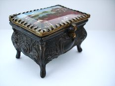 Art Nouveau Ornate metal ring / trinket box with beveled reverse glass painting, ca. 1910, France