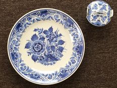 Porceleyne Fles - large plate with flower motif, and a butter dish