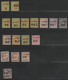 Martinique 1886/1891 – French Colonial stamps, overprinted. Yvert n°1/8, 10, 12, 13c, 16, 18, 23, 24, 30a – including some signed Calves/Brun