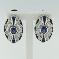 14 kt white gold clip-on earrings in Art Deco style with sapphire and 64 single cut diamonds, size 2.0 x 1.3 cm