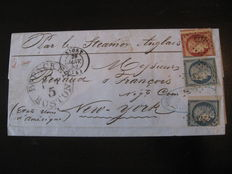 France, 1852. Letter to New York. Signed Calves. Yvert no. 4 and 5.