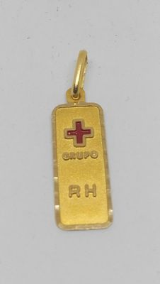 18 kt yellow gold pendant – Red cross