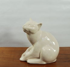 Nagel - Art deco sculpture in crackled glaze technique of cat