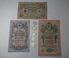 USSR/Russia - Set of 5 Silver Coins and 3 Banknotes