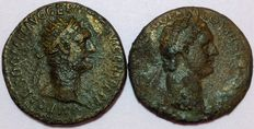 Roman Empire - Domitian (81-96 AD) - Lot of 2 Æ As (27 mm; 12,58 / 10,91 g) - Rome mint -