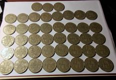 UK - Collection of 43 Half Crowns of George VI and Elizabeth II