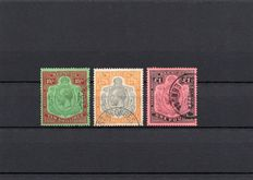Bermuda 1910 - Key Plate Selection, Stanley Gibbons. 55, 92 and 93