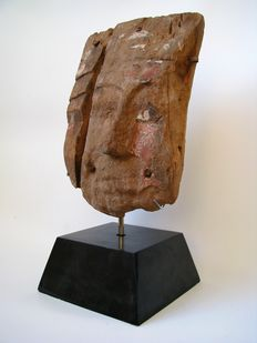 Large Egyptian wooden sarcophagus painted with gesso - 31 cm