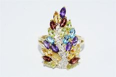 10k gold ring with colourful gemstones and diamonds of 2.56 ct - Ring size: 18.2 mm **NO RESERVE PRICE**