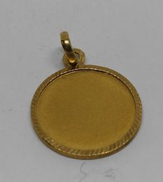 18 kt yellow gold medallion pendant - Smooth for engraving