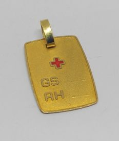 18 kt yellow gold pendant - Red cross
