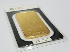 Gold bar, 50 gr, UBS Switzerland with certificate