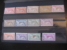 "France 1900/1927 - Complete series of type Merson except ""20Fr lilac"" of which signed Calves - Yvert n ° 119/123, 143/145, 206/207 and 240"