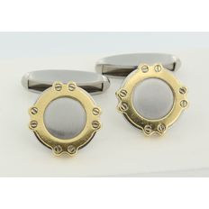 Chopard - ´St.Moritz´ - bi-colour gold cufflinks - measurements top side 1.5 cm x 1.5 cm