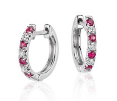White gold earrings with rubies and diamonds