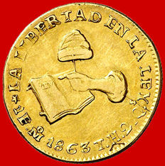 Mexico – 1 escudo gold coin, Guanajuato City, Mexican Republic, 1863 T·H
