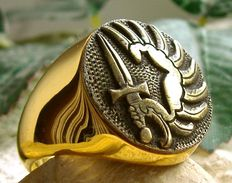 French Foreign Legion Hypoallergenic Men's 24k Gold Plated Ring