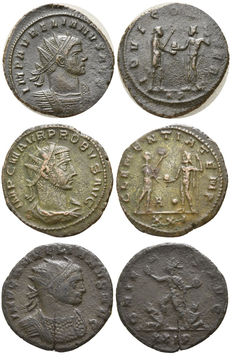 Roman Empire – Lot of 3 Antonianus coins: Aurelianus – Antoninianus – 270–275 // Probus – Antoninianus – 276–282 – Antioch // Aurelianus – Antoninianus – 270–275 – Serdica
