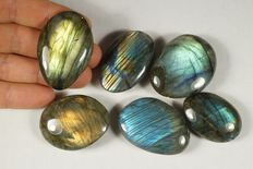 Labradorite lot - full polished - 173gm (6)