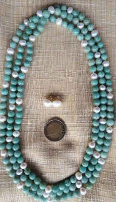 XL necklace composed of amazonite beads and freshwater cultured pearls - Pearl earrings with silver