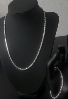 New! Silver king's braid set - Necklace and a bracelet - 925 kt