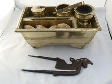 Sirih set on wheels - brass - betel nut pincer - iron - Java - Indonesia