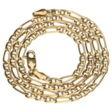 Yellow gold, 14 kt Figaro link necklace – 43 cm