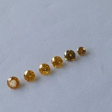 6 pieces, total of 2.36 ct, round brilliant, intense yellow, pique