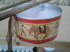 Ivins, USA - C. 2 feet - Tin Circus Drum with shoulder strap and wooden sticks, late 1800s/early 1900s